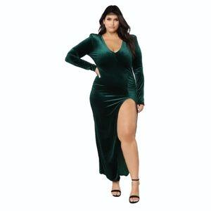 Fashion nova green love sex magic velvet dress with slit size 2X